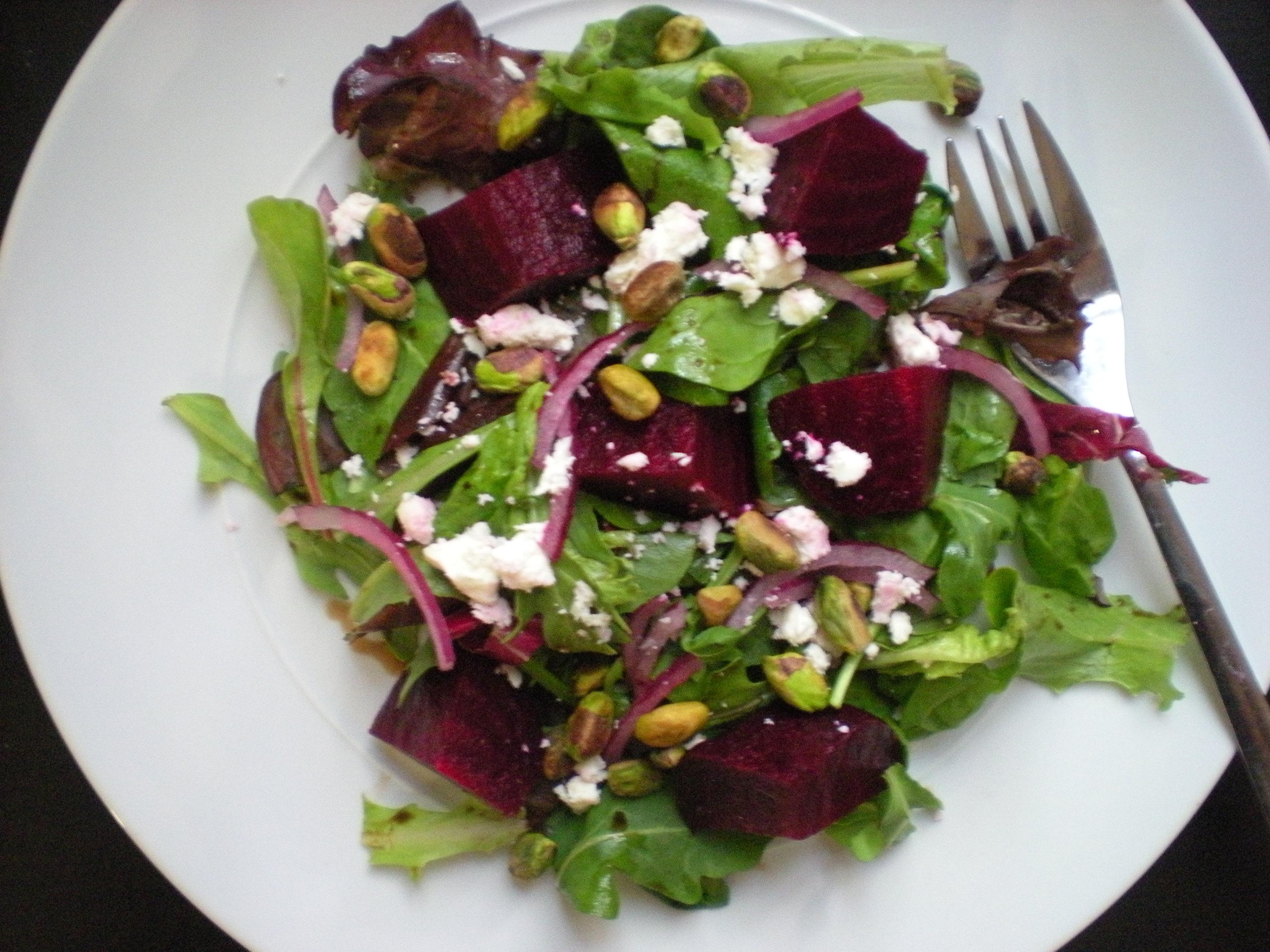 Balsamic Roasted Beet Salad with Pistachios and Feta