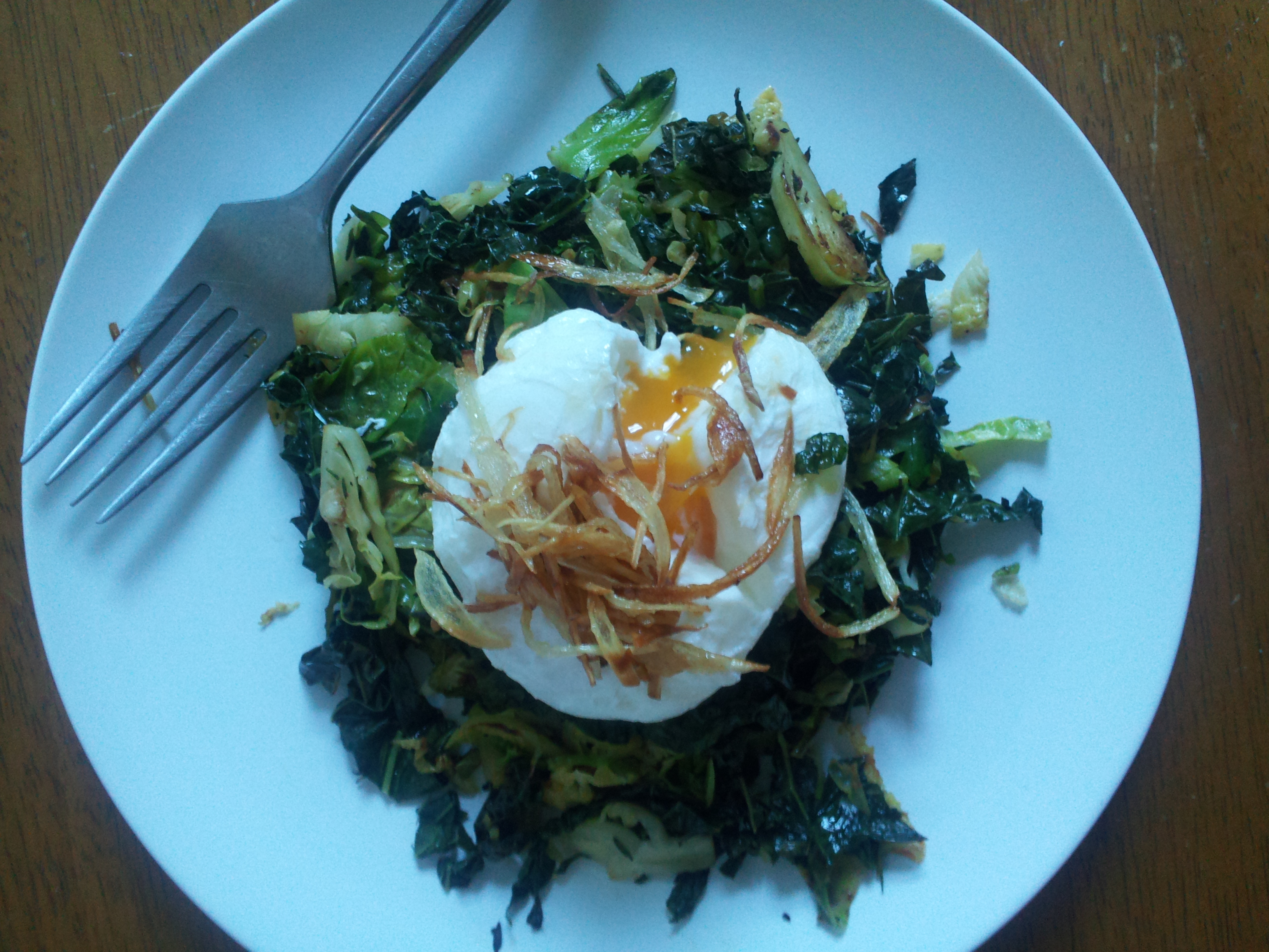 Winter Vegetable Hash with Poached Egg and Crispy Shallot
