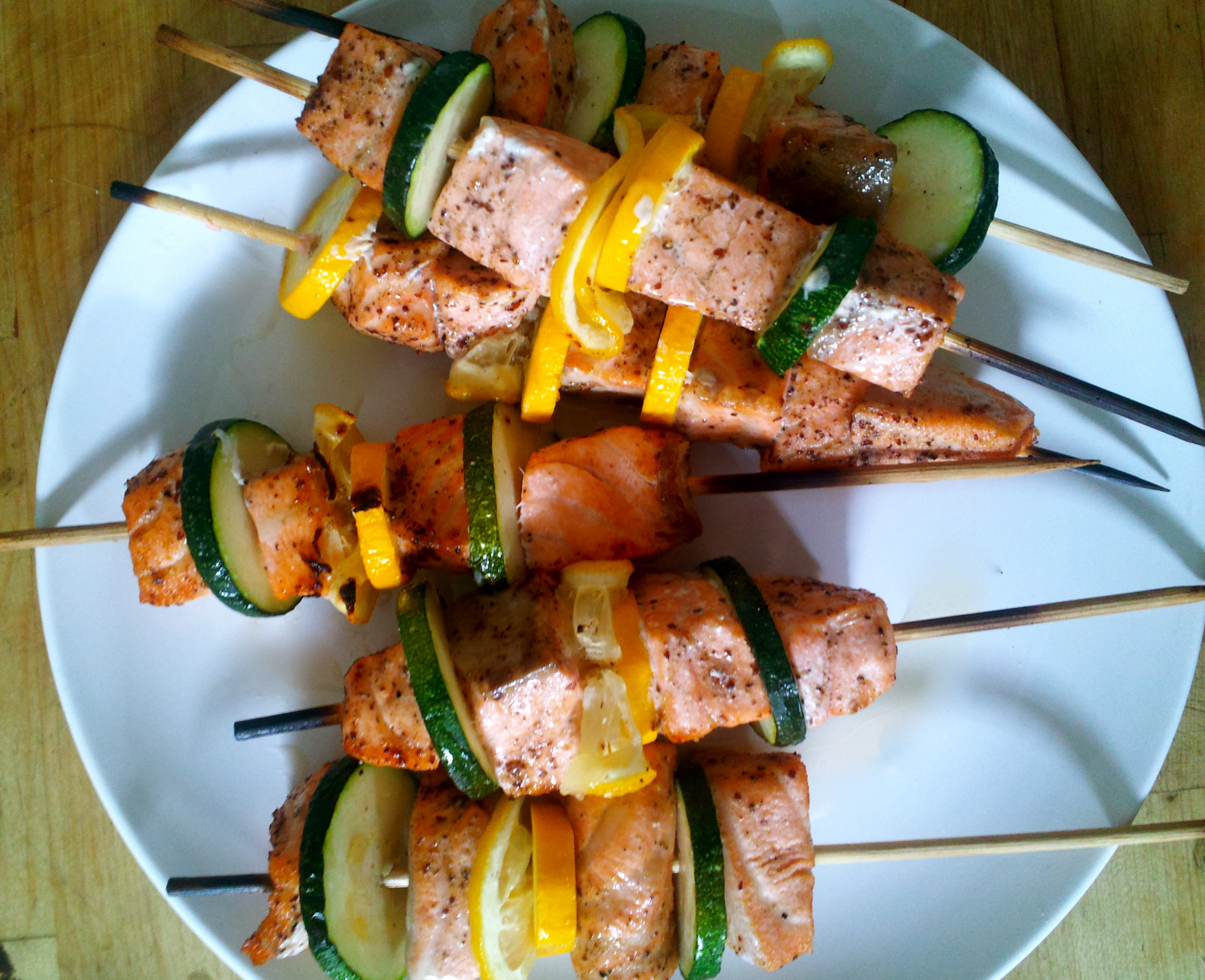 Salmon Skewers with Summer Squash
